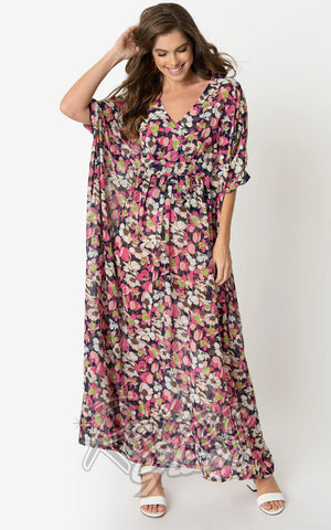 Unique Vintage Liz Caftan Dress in Pink & Ivory Floral Chiffon