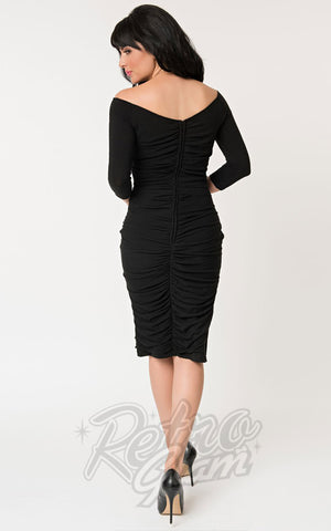 Unique Vintage Calvet Wiggle Dress in Black back