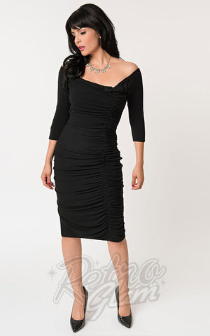 Unique Vintage Calvet Wiggle Dress in Black