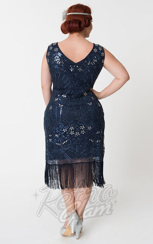 Unique Vintage Candide Flapper Dress in Navy Blue Curvy back