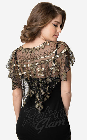 Unique Vintage 1920's Sequin Flapper Capelet in Gold back