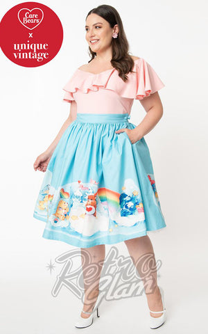 Unique Vintage X Care Bears Gellar Skirt in the Clouds curvy