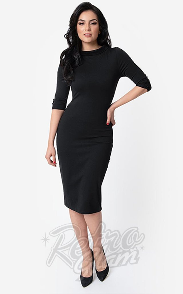 Unique Vintage Cassidy Wiggle Dress in Black