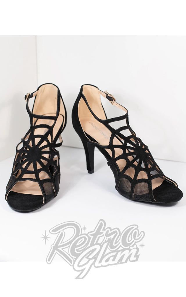 Unique Vintage Black Spider Web Charlotte Heels