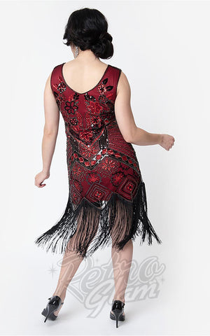 Unique Vintage Charvelle Flapper Dress in Red back