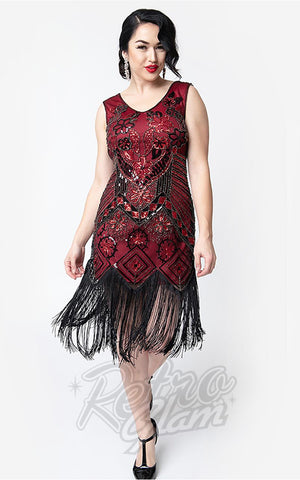 Unique Vintage Charvelle Flapper Dress in Red