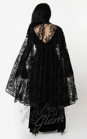 Unique Vintage Clarke Long Spiderweb Cape back