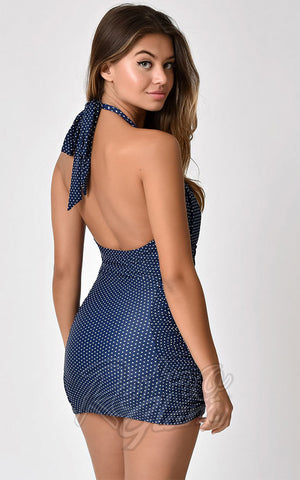 Unique Vintage Corinne 50's Halter Swimsuit in Blue Pin Dot back
