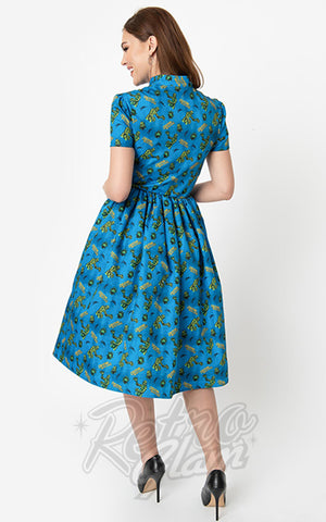 Unique Vintage Creature From the Black Lagoon Swing Dress back