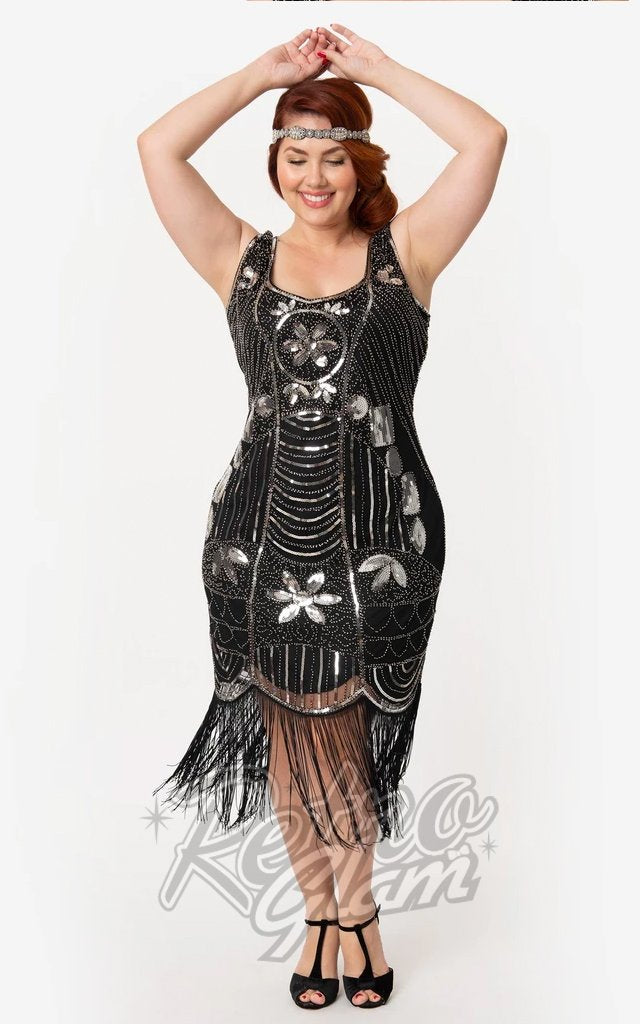 Unique Vintage Cremieux Flapper Dress in Black & Silver