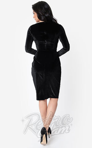 Unique Vintage Damsel Dress in Black Velvet back