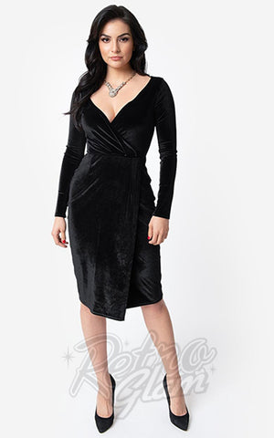 Unique Vintage Damsel Dress in Black Velvet