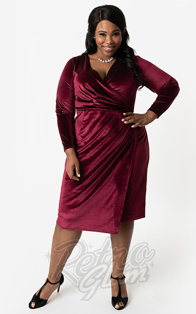 Unique Vintage Damsel Dress in Burgundy Velvet
