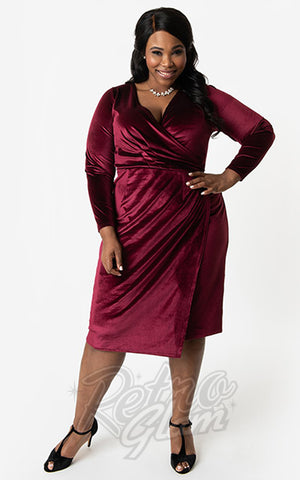 Unique Vintage Damsel Dress in Burgundy Velvet curvy