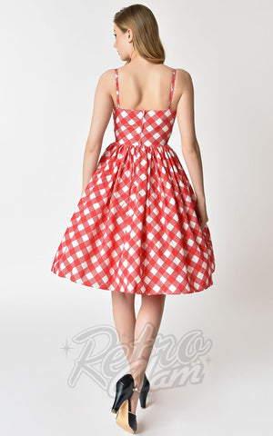 Unique Vintage Picnic Blanket Darcy Swing Dress back