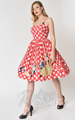 Unique Vintage Picnic Blanket Darcy Swing Dress