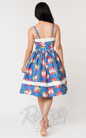 Unique Vintage Darienne Dress in Floral & Blue Polka Dot back