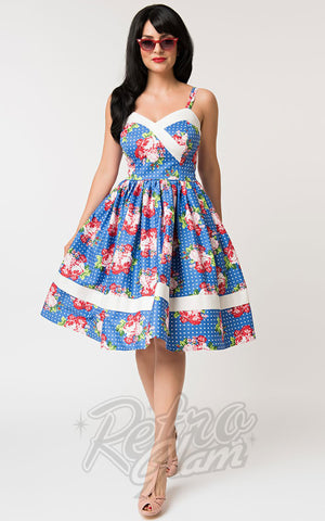 Unique Vintage Darienne Dress in Floral & Blue Polka Dot