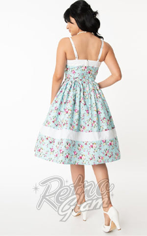 Unique Vintage Darienne Dress in Light Blue & Pink Florals back