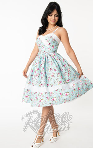 Unique Vintage Darienne Dress in Light Blue & Pink Florals