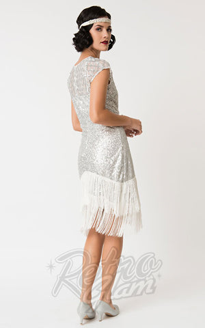 Unique Vintage Del Mar 1920's Flapper Dress in Silver back