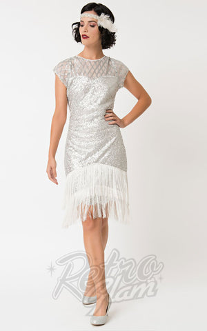 Unique Vintage Del Mar 1920's Flapper Dress in Silver
