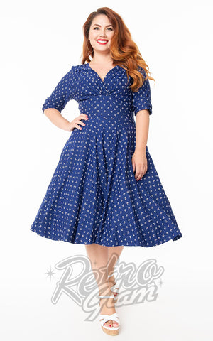 Unique Vintage Delores Swing Dress in Blue Anchor Print curvy