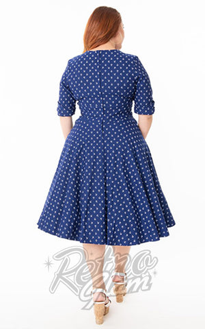 Unique Vintage Delores Swing Dress in Blue Anchor Print curvy back