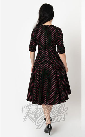 Unique Vintage Delores Swing Dress in Black & Red Pin Dot back