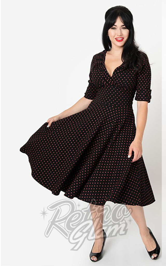 Unique Vintage Delores Swing Dress in Black & Red Pin Dot