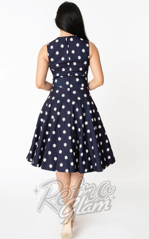 Unique Vintage Denim Sleeveless Delores Dress in Daisy Print back
