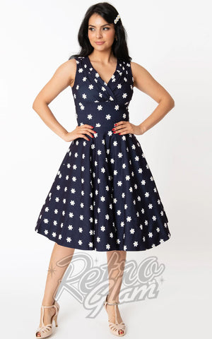 Unique Vintage Denim Sleeveless Delores Dress in Daisy Print