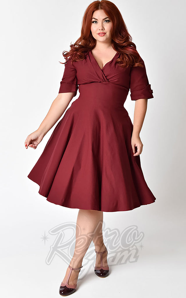 Unique Vintage Delores Swing Dress in Burgundy