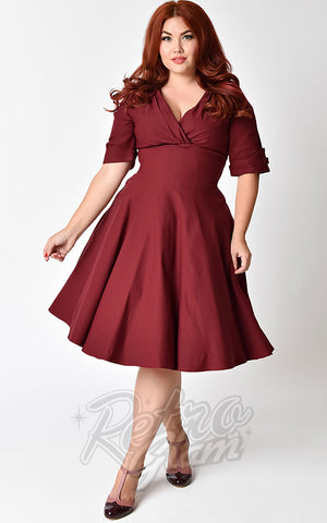 Unique Vintage Delores Swing Dress in Burgundy Curvy