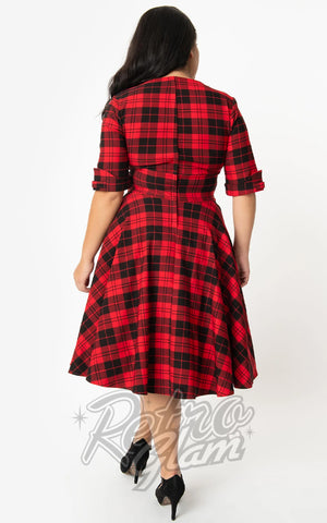 Unique Vintage Delores Swing Dress in Red & Black Plaid back