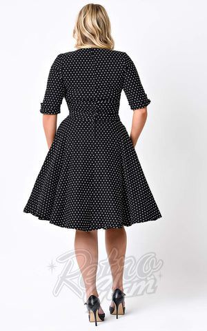 Unique Vintage Delores Swing Dress in Black & White Dot curvy back
