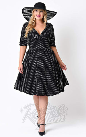 Unique Vintage Delores Swing Dress in Black & White Dot Curvy