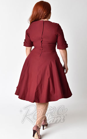 Unique Vintage Delores Swing Dress in Burgundy Curvy back