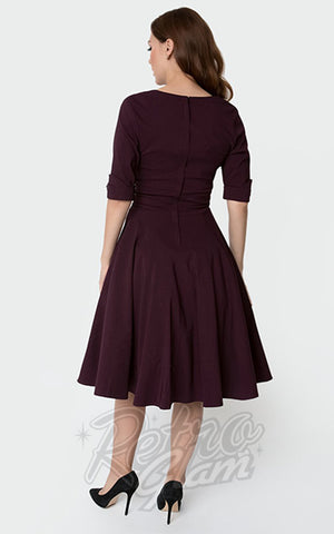 Unique Vintage Delores Swing Dress in Eggplant Purple back