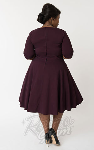 Unique Vintage Delores Swing Dress in Eggplant Purple curvy back