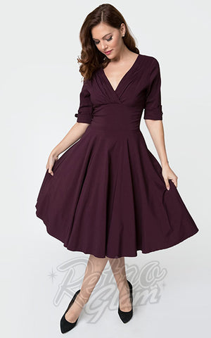 Unique Vintage Delores Swing Dress in Eggplant Purple