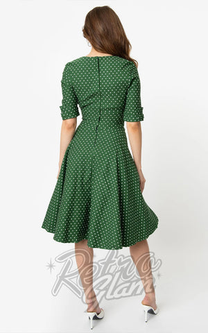 Unique Vintage Delores Swing Dress in Green & White Pindot back