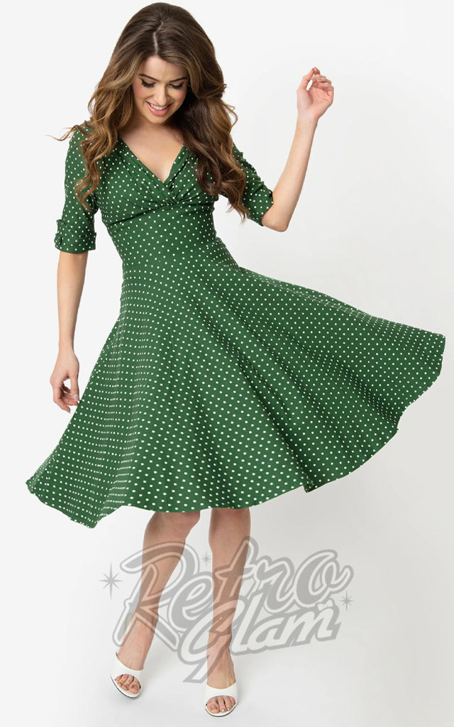 Unique Vintage Delores Swing Dress in Green & White Pindot