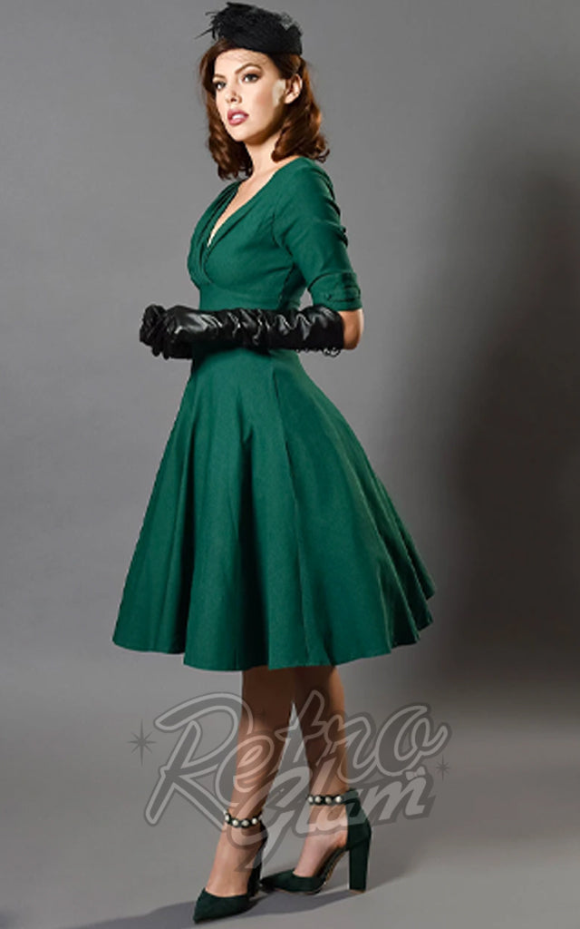 Unique Vintage Delores Swing Dress in Green