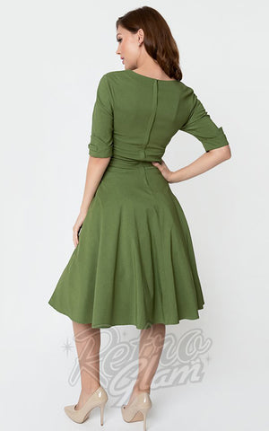 Unique Vintage Delores Swing Dress in Moss Green back
