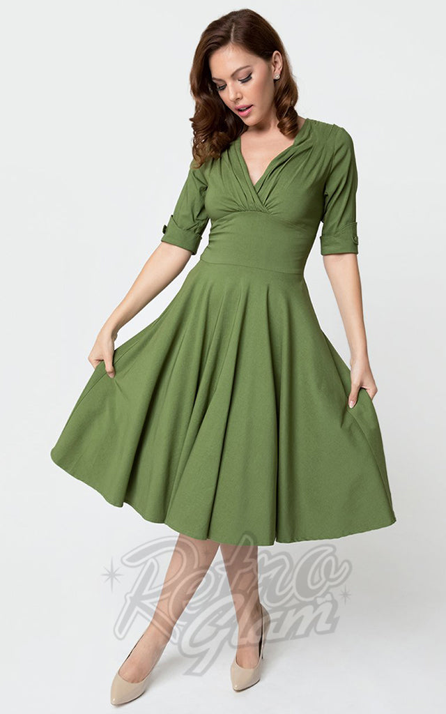 Unique Vintage Delores Swing Dress in Moss Green