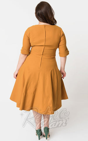 Unique Vintage Delores Swing Dress in Mustard back
