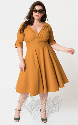 Unique Vintage Delores Swing Dress in Mustard