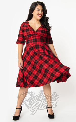 Unique Vintage Delores Swing Dress in Red & Black Plaid