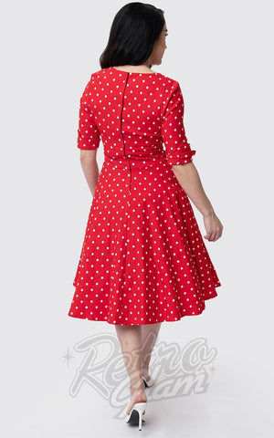 Unique Vintage Delores Swing Dress in Red & White Dot 50s back